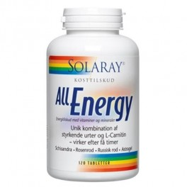 Solaray All Energy - 4 energiurter, L-Garnithin, vitaminer og mineraler 120 tab.